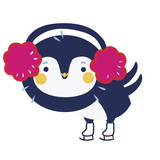 Cute penguin on the skates - 136298571