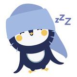 Cute sleeping penguin character design - 136298712