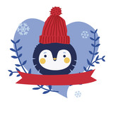 Cute penguin character design with ribbon - 136298749