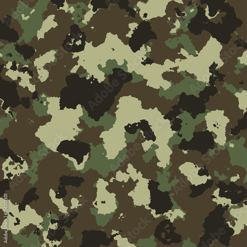 vector military camouflage pattern in green colors - 136301301
