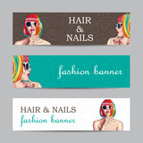 vector fashion banners with woman wearing colorful wig