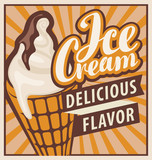 banner with the ice cream in retro style - 136306916
