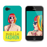 vector mobile phone cover template with woman wearing colorful w