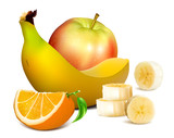 Ripe fruits with vector illustration