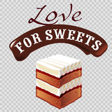 Sweet dessert vector illustration of cream cake