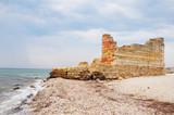 Old greek ruin on the sea coastline as global flood concept. Noahs Flood concept. Earth under water - Great Worldwide Flood