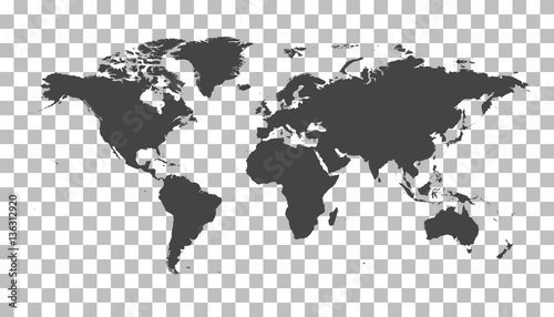 Blank black world map on isolated background. World map vector template for website, infographics, design. Flat earth world map illustration
