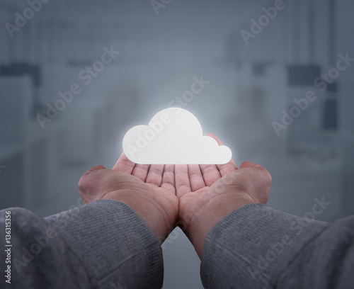 hands hold a cloud