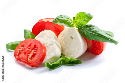 mozzarella with tomato and basil isolated on white Poster