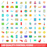 100 quality control icons set, cartoon style