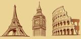 Europe cities Roma, London, Paris, monuments