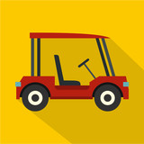 Red golf cart icon, flat style