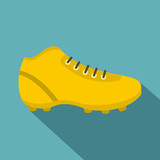 Football or soccer shoe icon, flat style