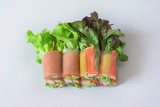 Fresh vegetable salad roll with crab stick, asia style