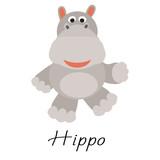 Hippos wild cartoon animal vector illustration on white.