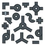 Road elements parts icons set, flat style