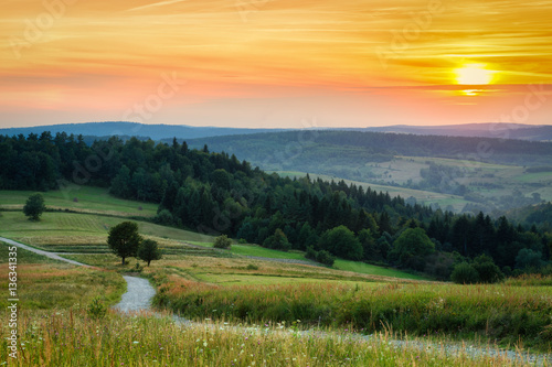 Fototapeta Countryside aerial landscape with meadow and mountains