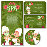 Spa salon. Business card, sticker, flyer.