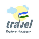 Bashkortostan Travel Country Flag Logo. Explore the The Beauty lettering with Sun and Clouds and creative waving flag. travel company logo design - vector illustration