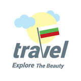 Bulgaria Travel Country Flag Logo. Explore the The Beauty lettering with Sun and Clouds and creative waving flag. travel company logo design - vector illustration