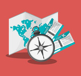 world map, compass and board ticket over red background. colorful design. vector illustration