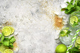 Ingredients for making mojito.Top view with space for text. - 136346996