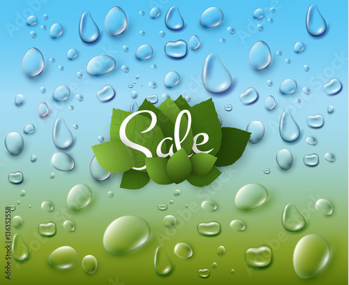 Keuken foto achterwand Paardebloemen en water Spring background with green leaves. Vector eps10.