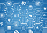 Big data background with hexagon shapes and symbols