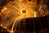 Freezelight using spinning burning steel wool and pyrotechnics in abandoned fact