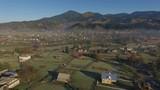 mountain village and mountains
