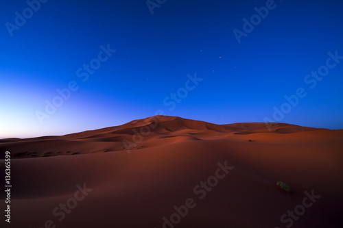 Foto op Canvas Marokko View of the dunes at night in Erg Chebbi near Merzouga in Morocco