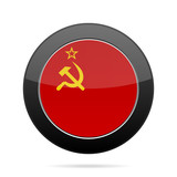 Flag of Soviet Union. Shiny black round button.