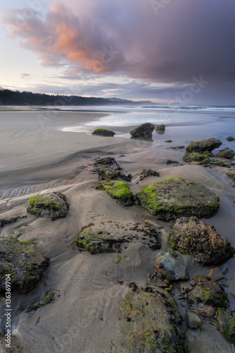The picturesque Otter Rock beach in the morning north of Newport, Oregon Poster