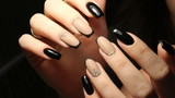 Youth manicure design, color coffee with rhinestones and black - 136371985