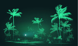 Tropical background with palm trees at nigh, vector illustration - 136372355