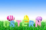 Text Ostern auf Wiese