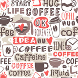 Seamless doodle coffee pattern hand drawn vector illustration.