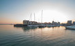 Harbour entrance to Ocean Village Marina in Southampton at sunset