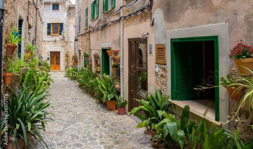 charming mediterranean street of old town Valldemossa on Mallorc