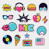 american trendy color patches, stickers and pins - 136384578