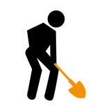 silhouette pictogram male with shovel vector illustration