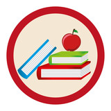 silhouette color with school books with apple in circular frame