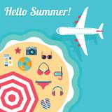 vector beach vacation on tropical island template - 136387754