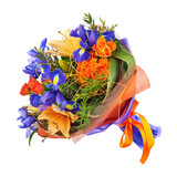 Flower bouquet from roses, lilies, iris and other flowers isolated on white background.