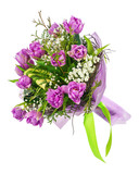 Beautiful bouquet of lilac tulips and other flowers isolated on white background.