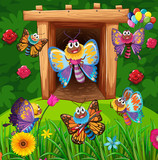 Colorful butterflies flying in garden
