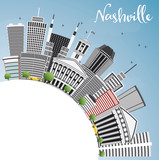 Fototapety Nashville Skyline with Gray Buildings, Blue Sky and Copy Space.