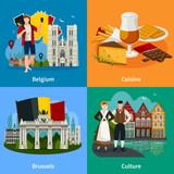 Belgian Landmarks Flat Style Travel Concept