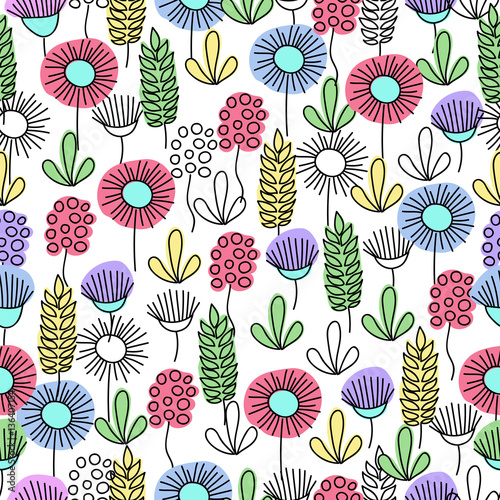 Fototapeta graphic flowers. Doodle. seamless pattern
