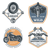 Set of motorcycle colored emblems, labels, logos and motorbike badges with descriptions of custom bikes, classic garage, born to be wild. vector illustration
